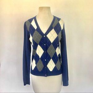 Brooks Brothers blue gray argyle cardigan sweater